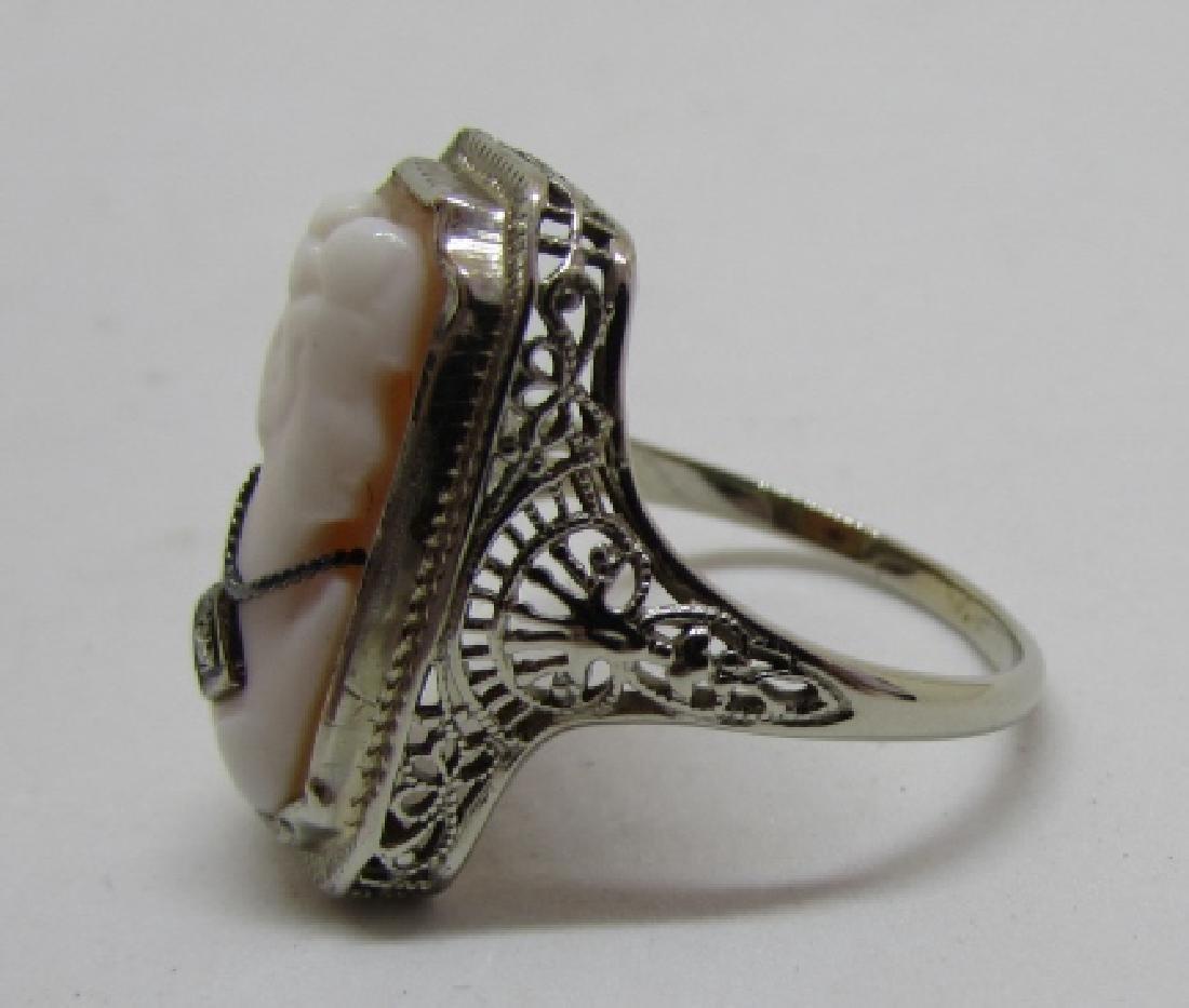 CAMEO DIAMOND FILIGREE RING 14K GOLD EDWARDIAN - 5