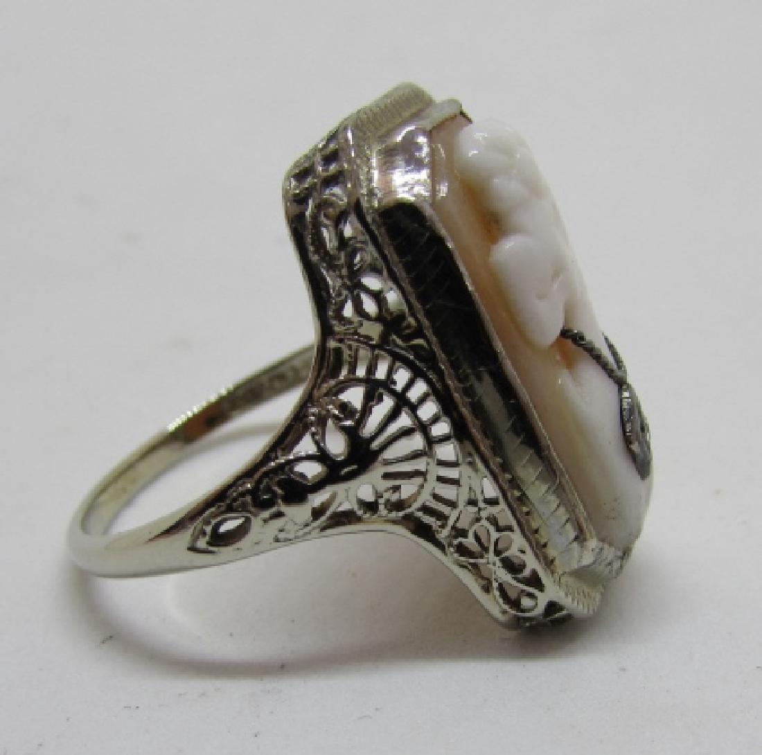 CAMEO DIAMOND FILIGREE RING 14K GOLD EDWARDIAN - 6