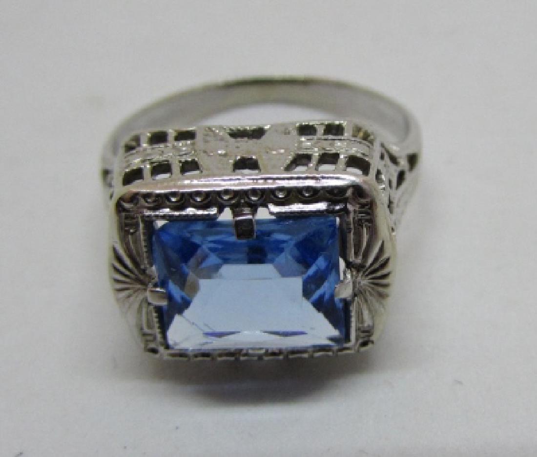 BLUE TOPAZ FILIGREE RING 14K WHITE GOLD EDWARDIAN