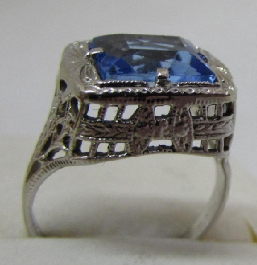 BLUE TOPAZ FILIGREE RING 14K WHITE GOLD EDWARDIAN - 2