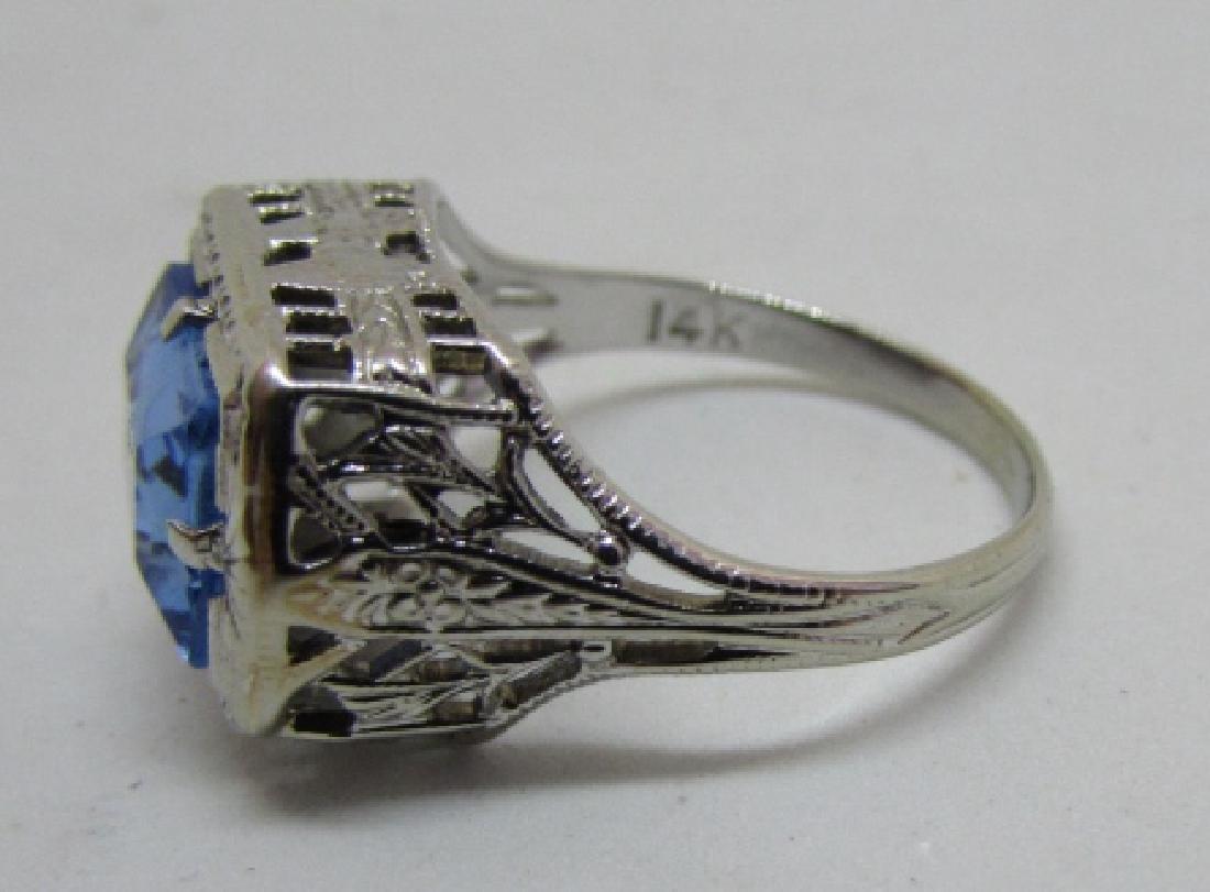 BLUE TOPAZ FILIGREE RING 14K WHITE GOLD EDWARDIAN - 4
