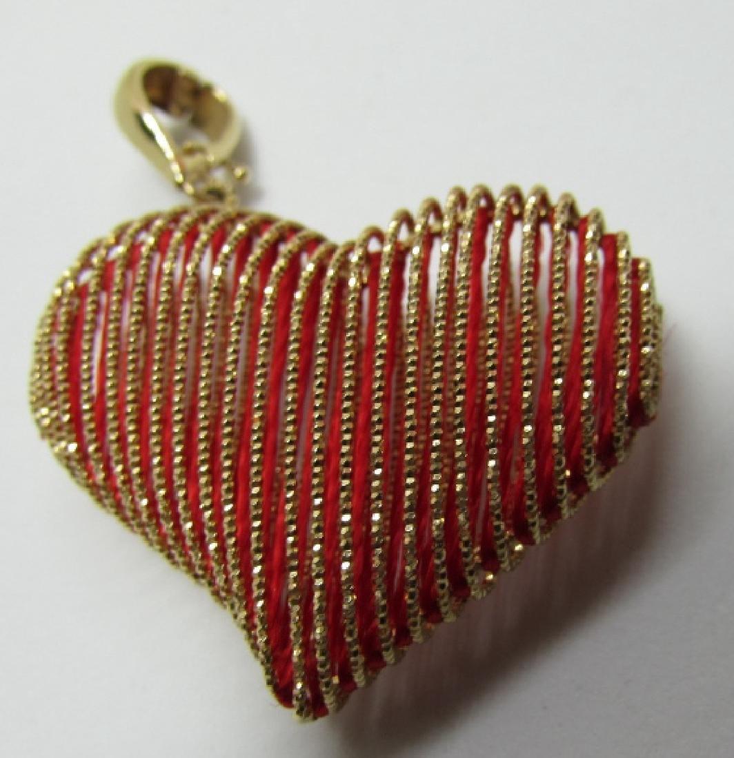 14K GOLD HEART ENHANCER PENDANT CHARM SLIDE