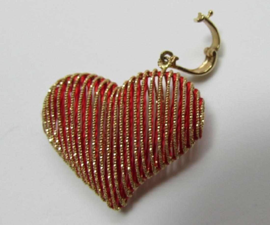 14K GOLD HEART ENHANCER PENDANT CHARM SLIDE - 2