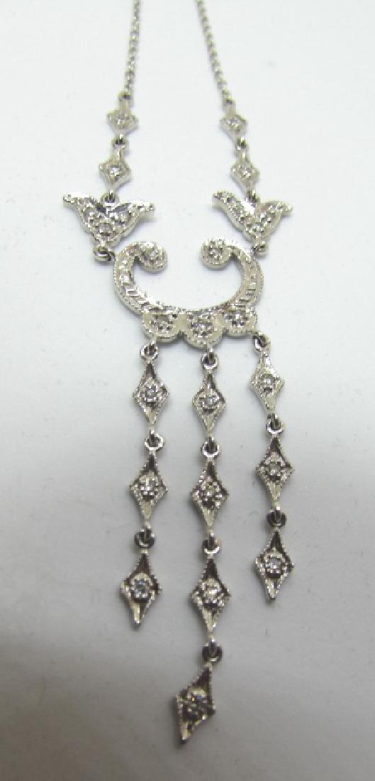 25 DIAMOND CHANDELIER NECKLACE 14K WHITE GOLD - 2