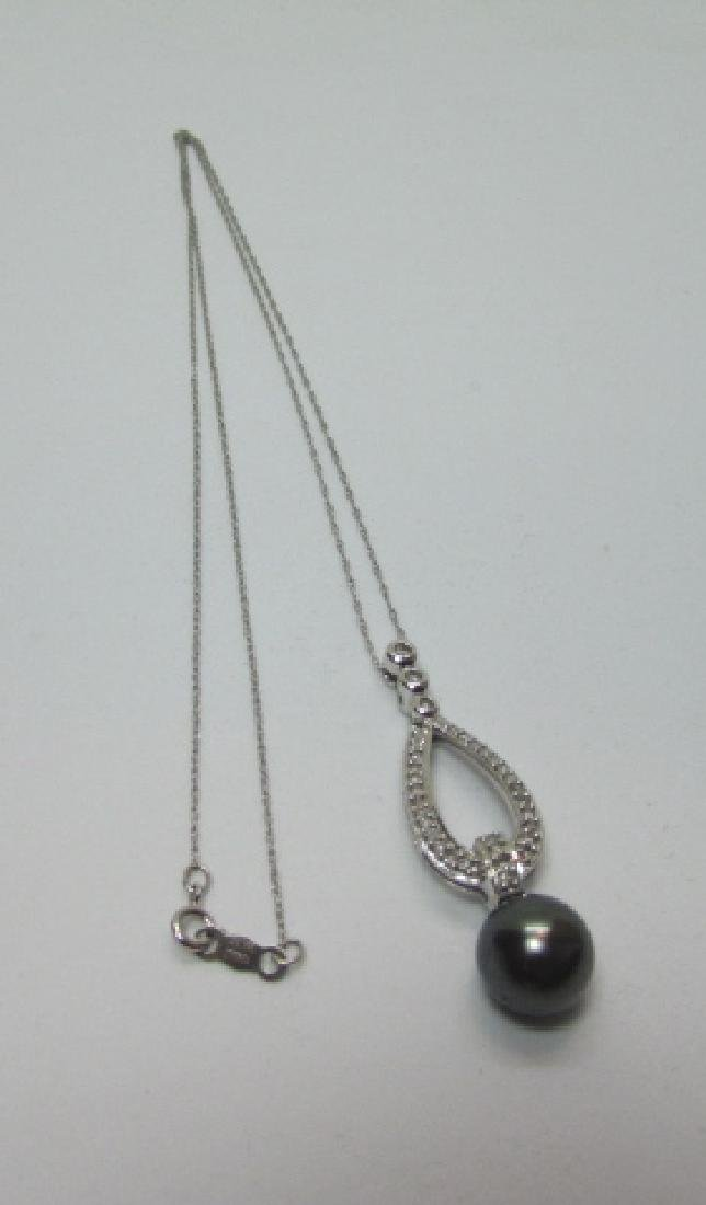 9MM BLACK PEARL 25 DIAMOND 14K GOLD CHAIN NECKLACE