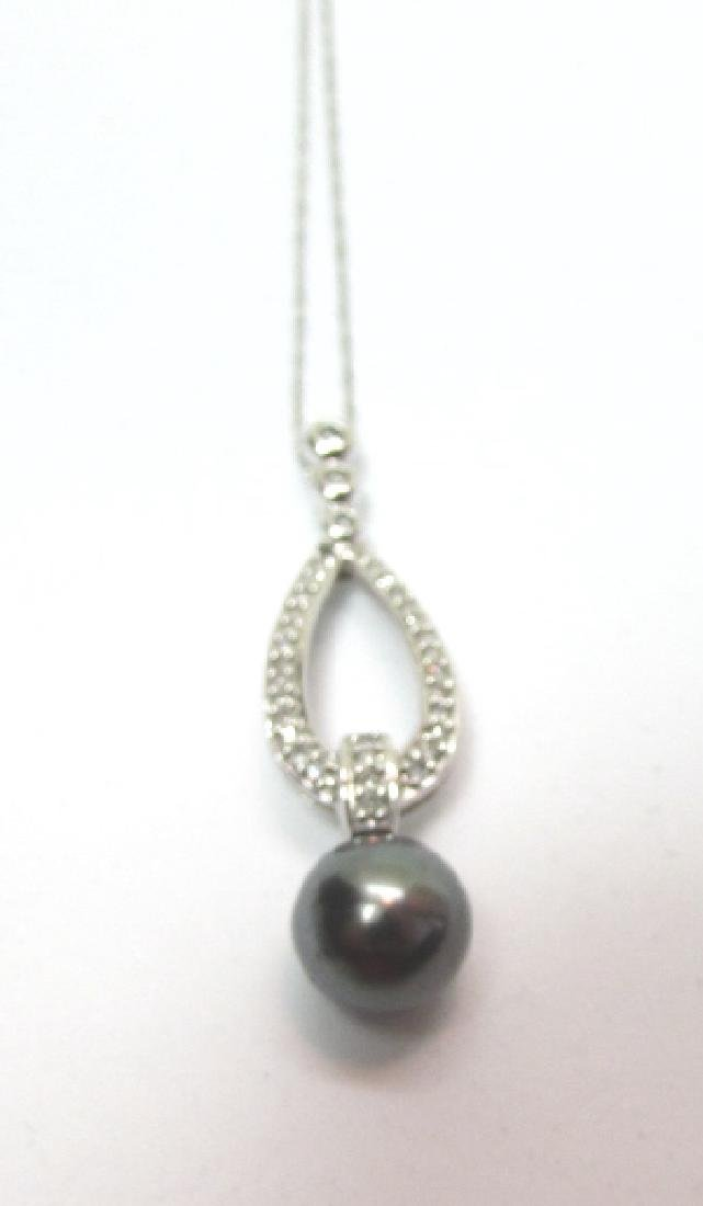 9MM BLACK PEARL 25 DIAMOND 14K GOLD CHAIN NECKLACE - 3