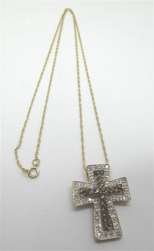 6da6d748c9fbc .50CT BLACK WHITE DIAMOND CROSS 14K GOLD NECKLACE
