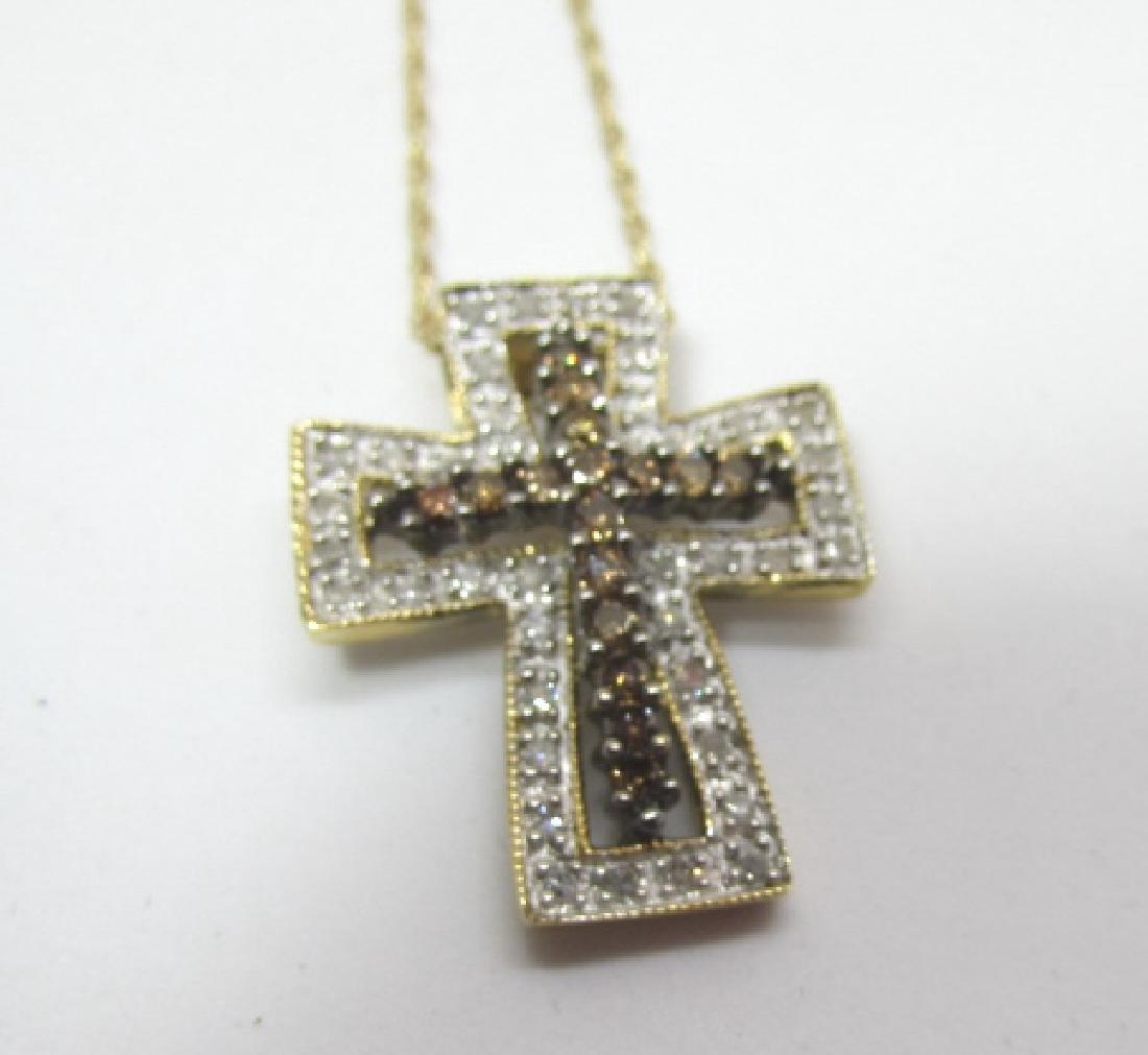 .50CT BLACK WHITE DIAMOND CROSS 14K GOLD NECKLACE - 2