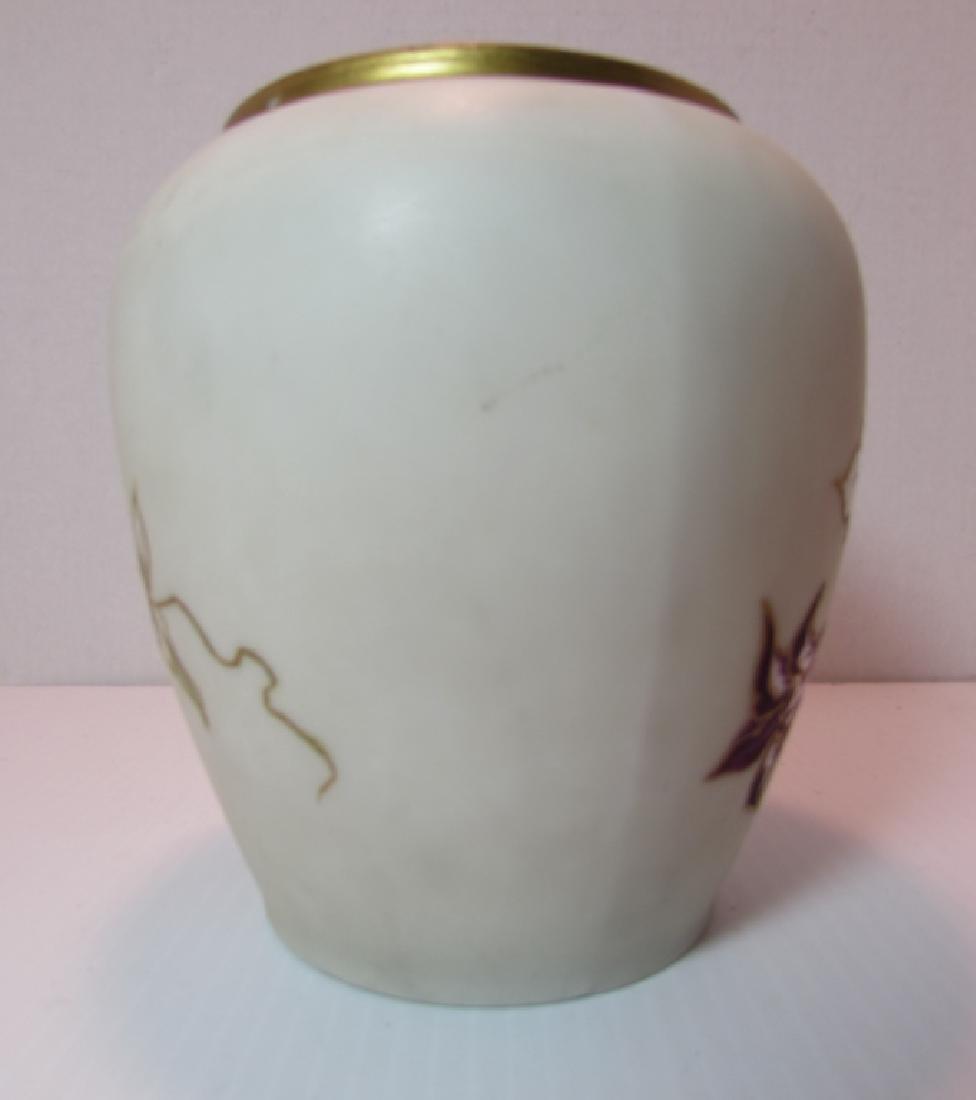 LIMOGES FLORAL PORCELAIN VASE JAR VESSEL ORCHID - 3