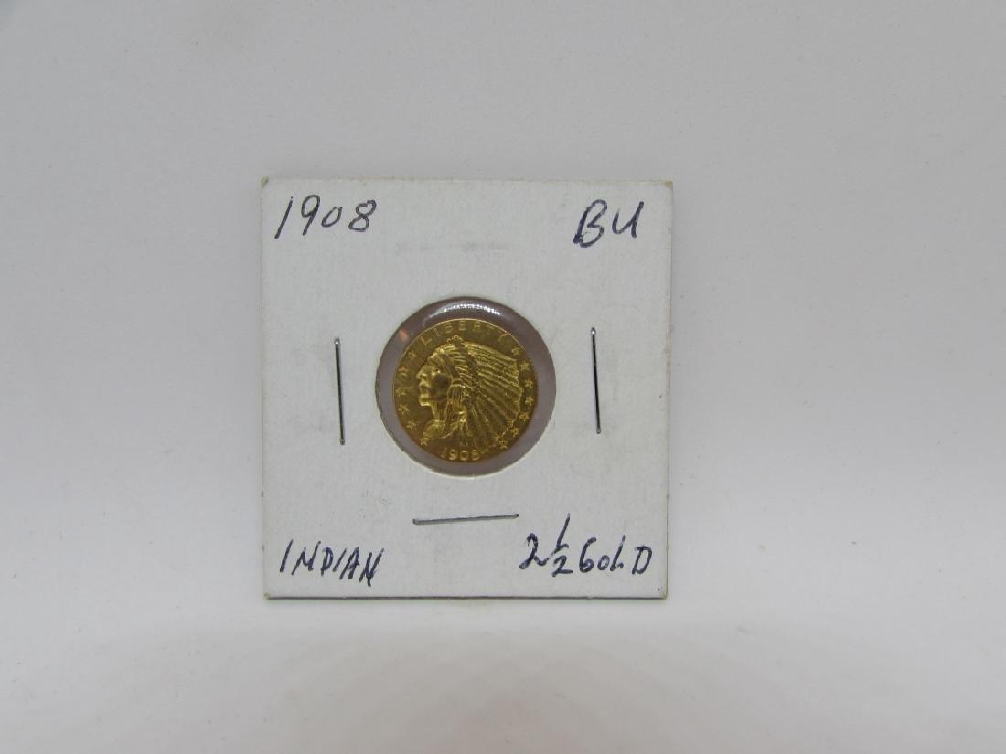 1908 $2.5 GOLD INDIAN BU US COIN QUARTER EAGLE