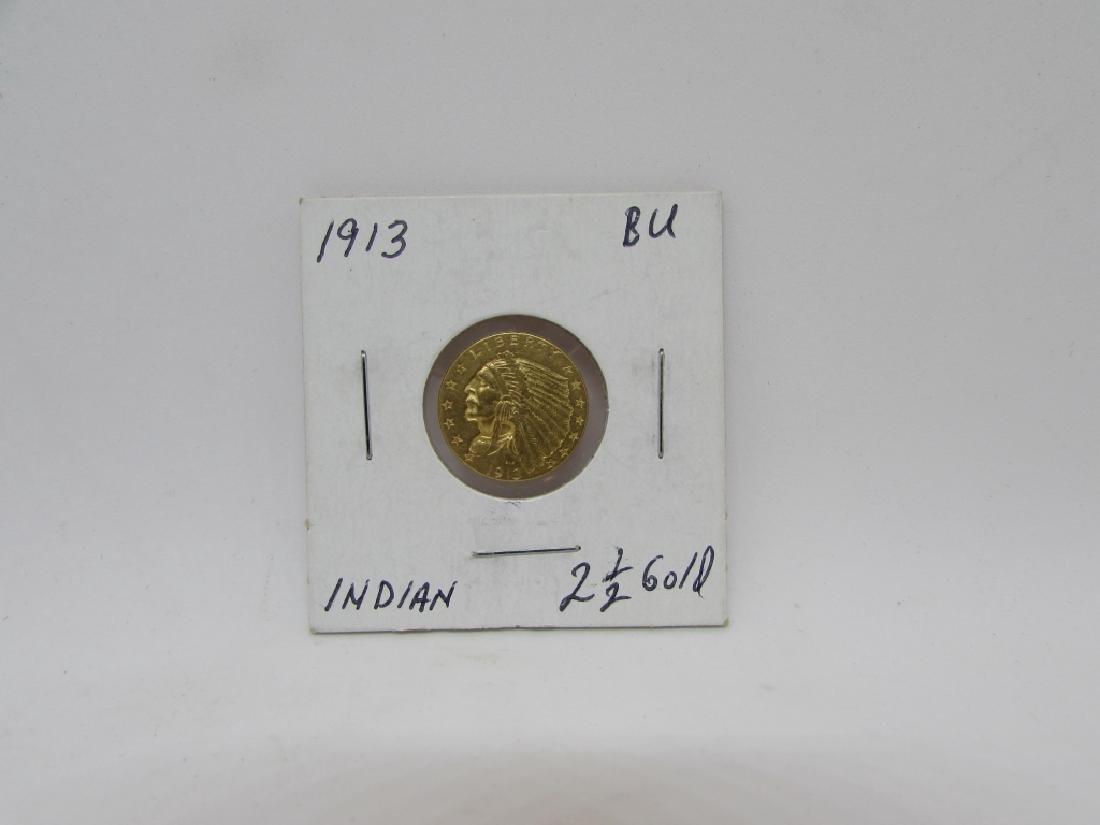 1913 $2.5 GOLD INDIAN BU US COIN QUARTER EAGLE