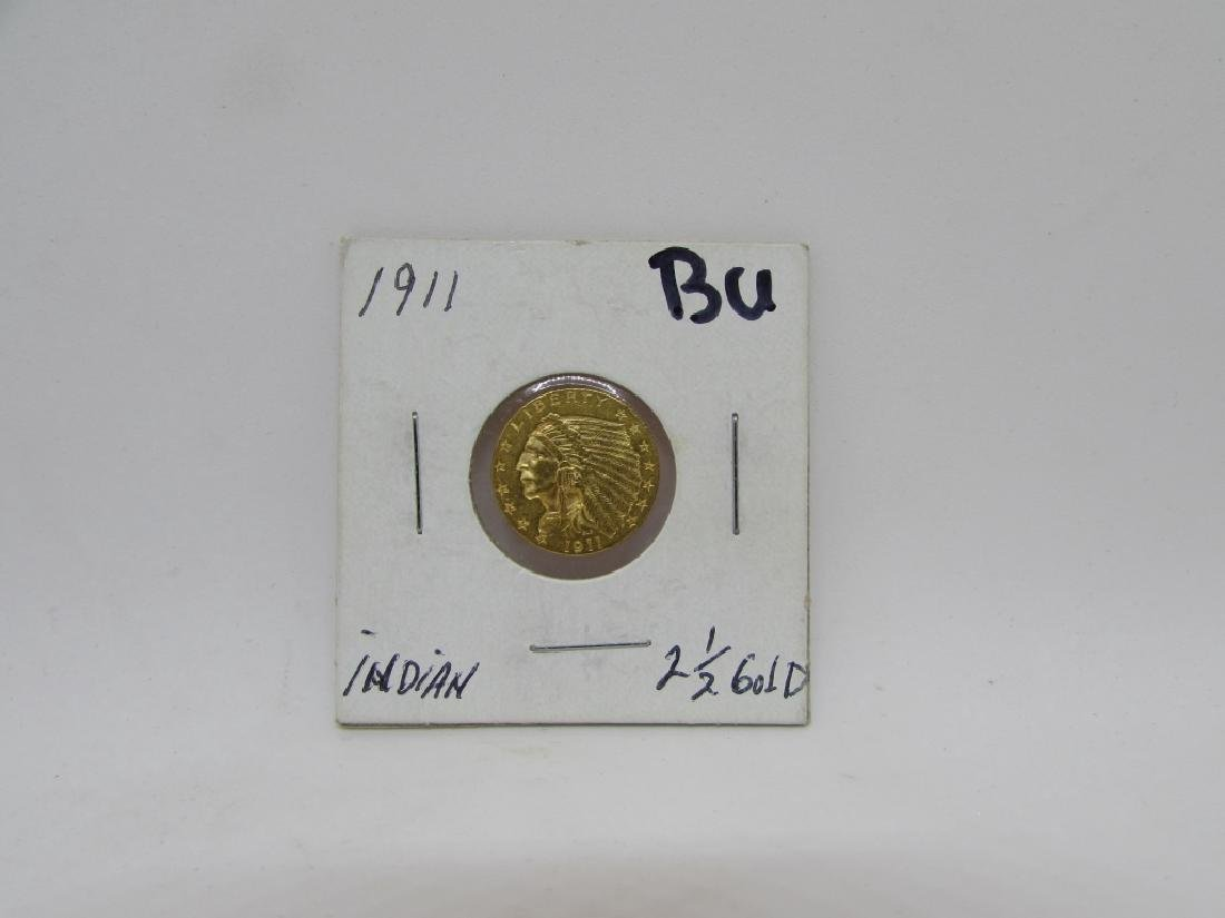 1911 $2.5 GOLD INDIAN US COIN BU QUARTER EAGLE