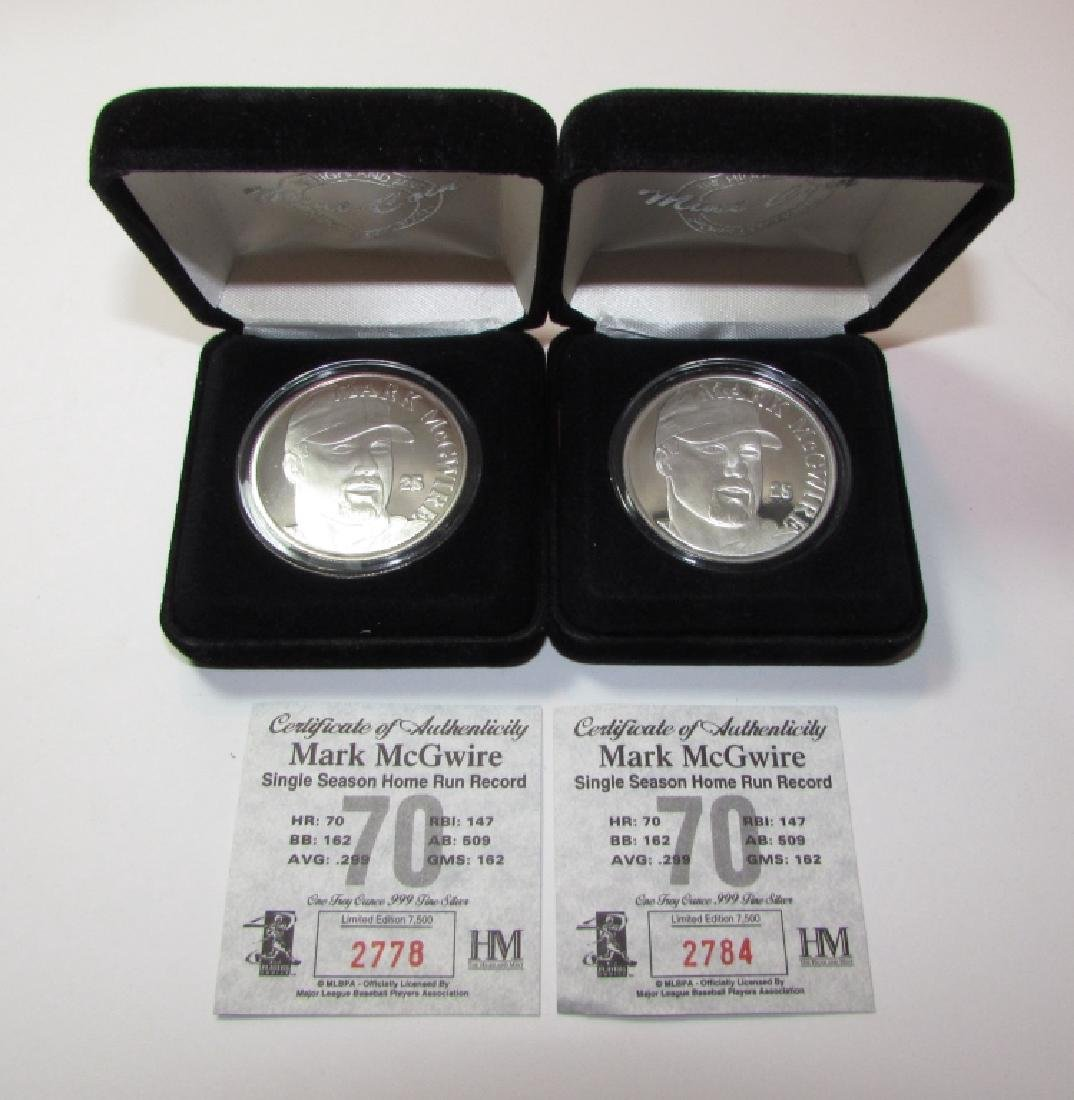 2 MARK MCGWIRE FINE SILVER ROUNDS w COA MINT PROOF