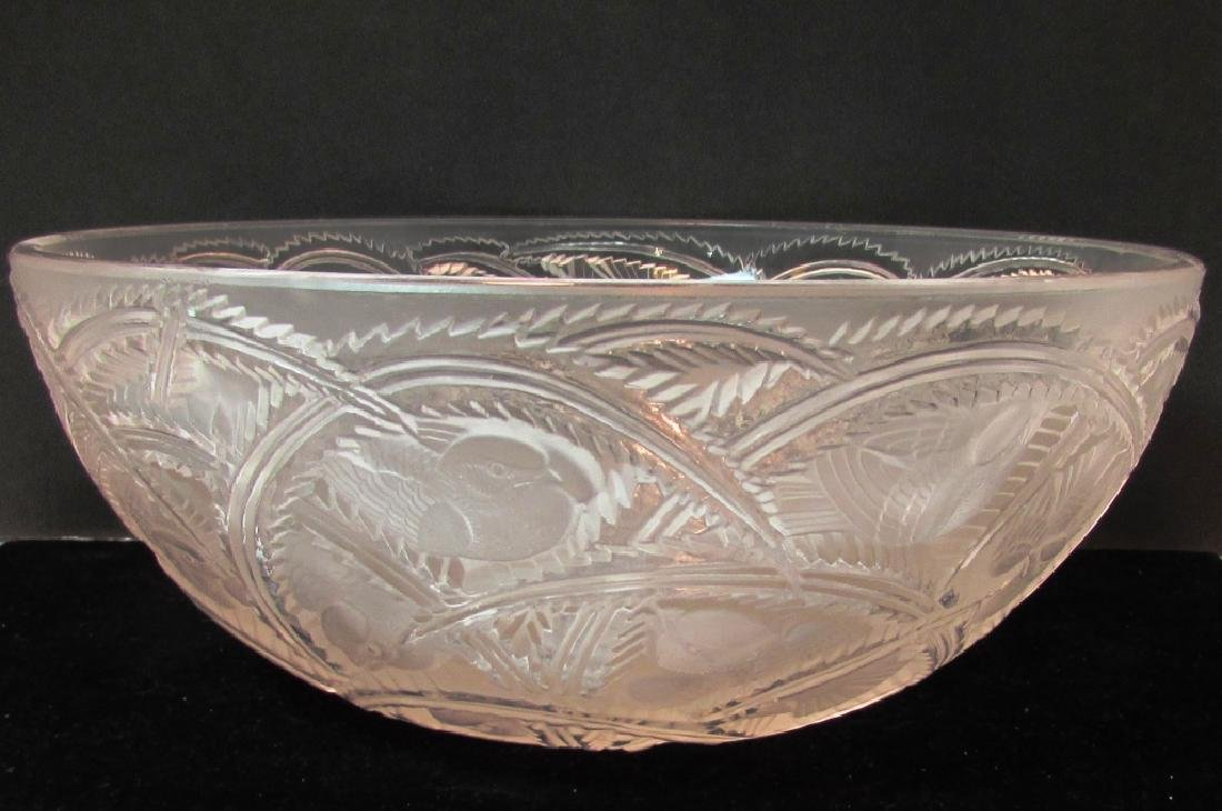 FABULOUS LALIQUE FROSTED GLASS PINSONS FINCH BOWL