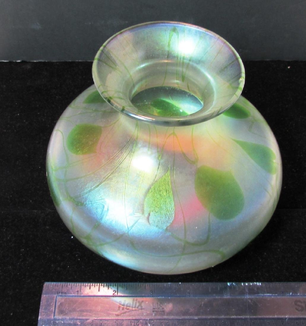 VINTAGE FROSTED GLASS LILY PAD VASE LOETZ TIFFANY - 4