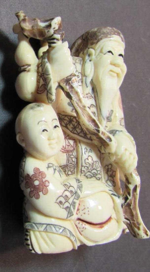 ANTIQUE SIGNED BONE NETSUKE MEIJI PERIOD JAPANESE