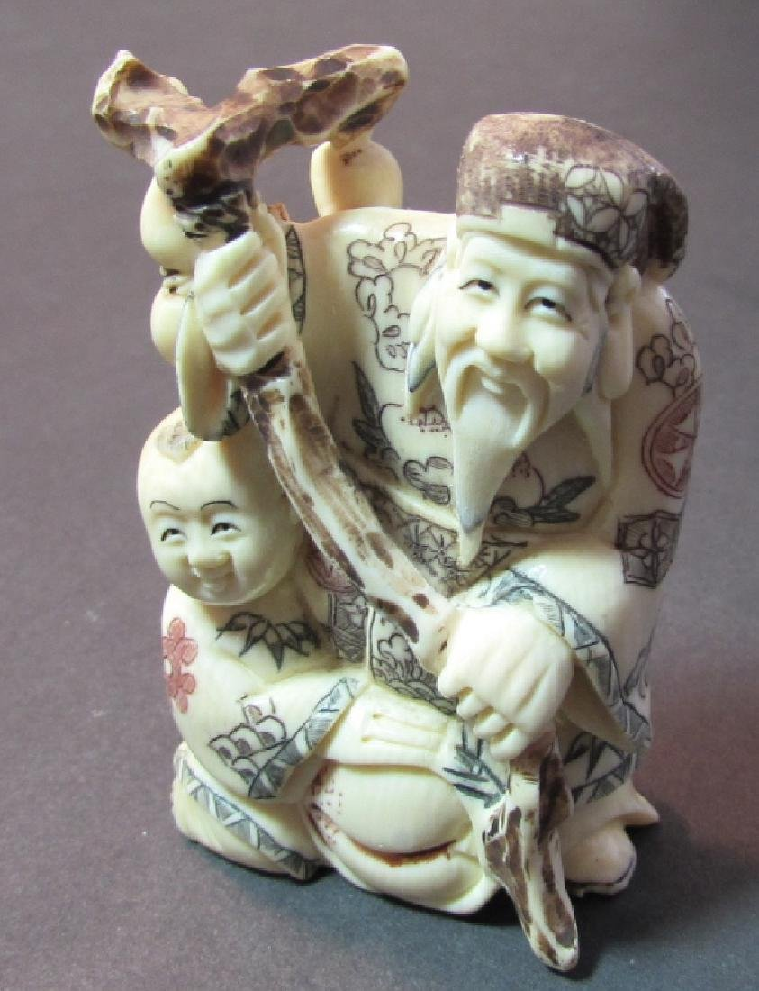 ANTIQUE SIGNED BONE NETSUKE MEIJI PERIOD JAPANESE - 2