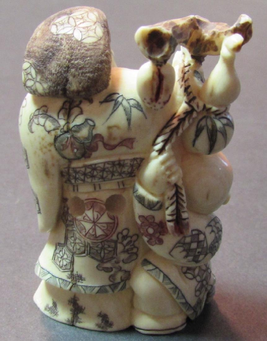 ANTIQUE SIGNED BONE NETSUKE MEIJI PERIOD JAPANESE - 4