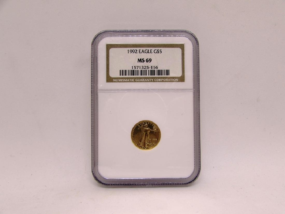 1992 GOLD US COIN EAGLE $5 NGC MS69