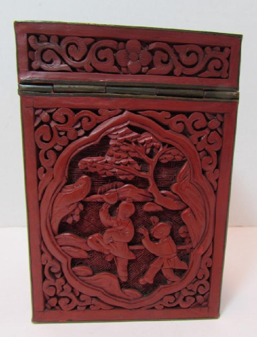 CHINESE CARVED RED CINNABAR LACQUER TEA CADDY BOX