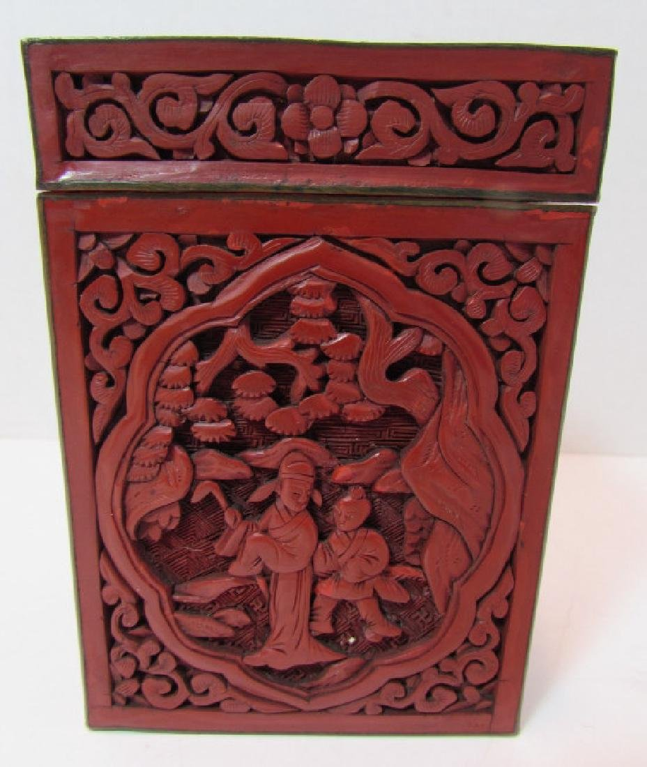 CHINESE CARVED RED CINNABAR LACQUER TEA CADDY BOX - 2