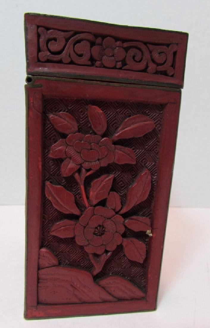 CHINESE CARVED RED CINNABAR LACQUER TEA CADDY BOX - 3