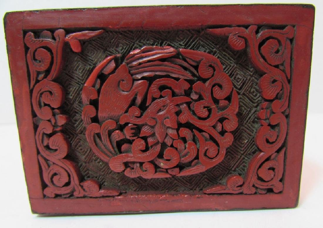 CHINESE CARVED RED CINNABAR LACQUER TEA CADDY BOX - 4
