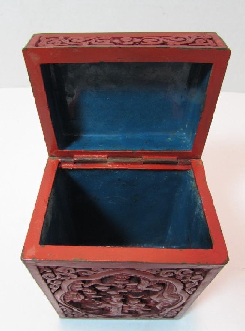 CHINESE CARVED RED CINNABAR LACQUER TEA CADDY BOX - 5