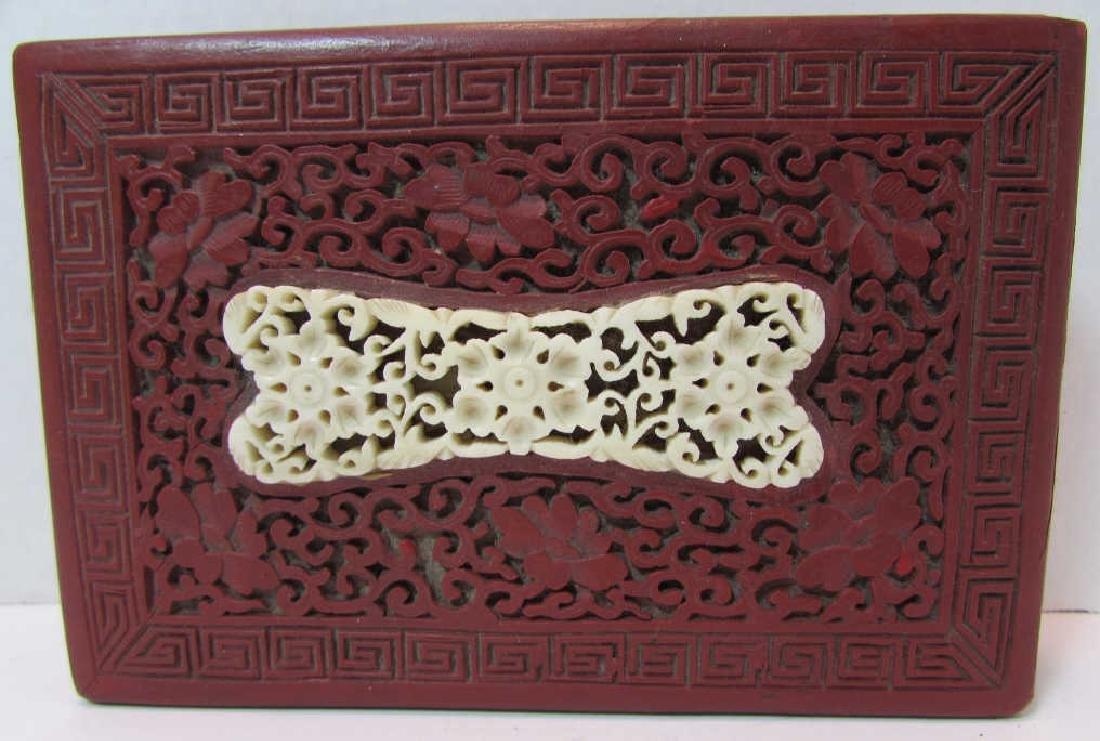 ANTIQUE CHINESE BONE & CINNABAR COVERED BOX