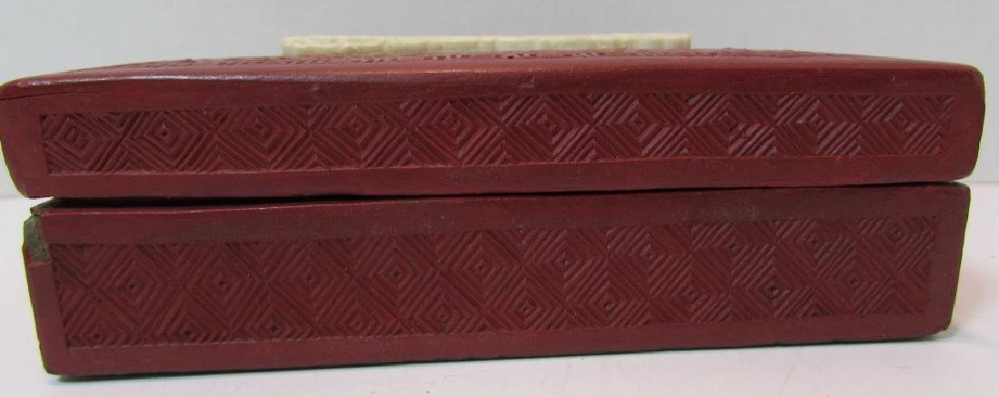 ANTIQUE CHINESE BONE & CINNABAR COVERED BOX - 2