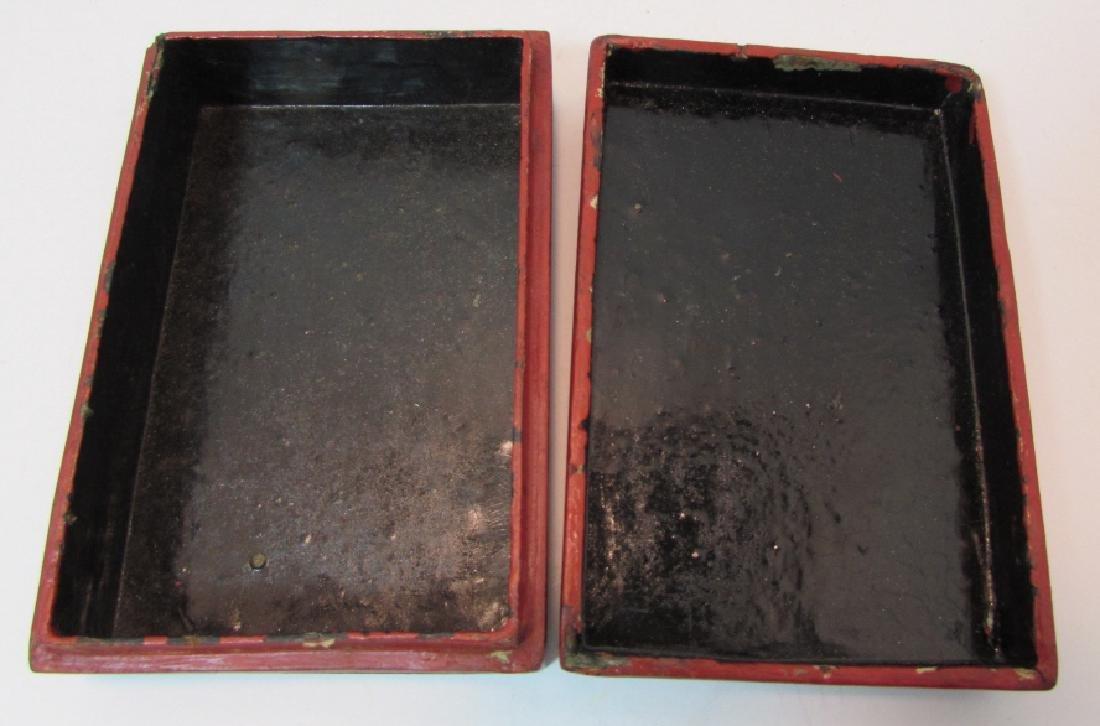 ANTIQUE CHINESE BONE & CINNABAR COVERED BOX - 3