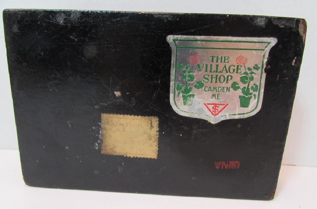 ANTIQUE CHINESE BONE & CINNABAR COVERED BOX - 4