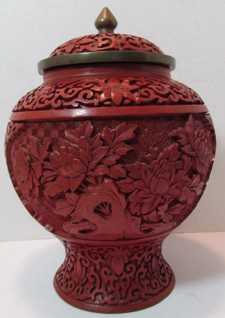 CHINESE CARVED RED LACQUER CINNABAR GINGER JAR