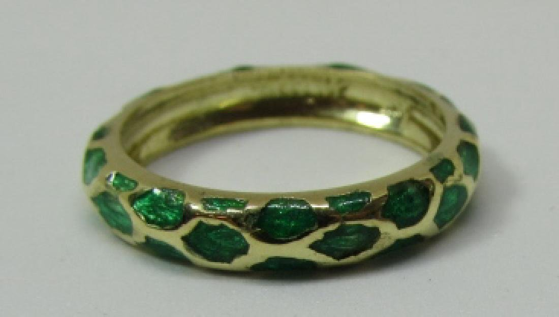 TIFFANY & CO 18K GOLD BAND RING GREEN ENAMEL SIZE 5