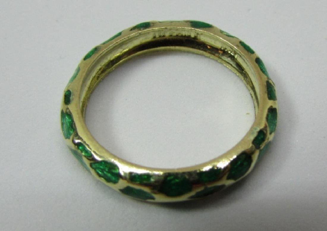 TIFFANY & CO 18K GOLD BAND RING GREEN ENAMEL SIZE 5 - 2