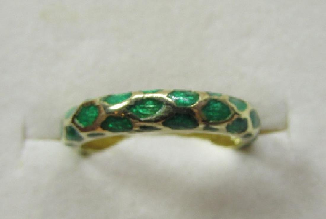 TIFFANY & CO 18K GOLD BAND RING GREEN ENAMEL SIZE 5 - 3