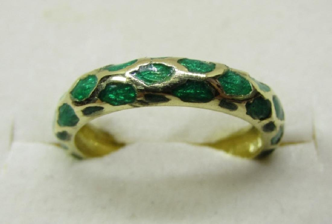 TIFFANY & CO 18K GOLD BAND RING GREEN ENAMEL SIZE 5 - 4