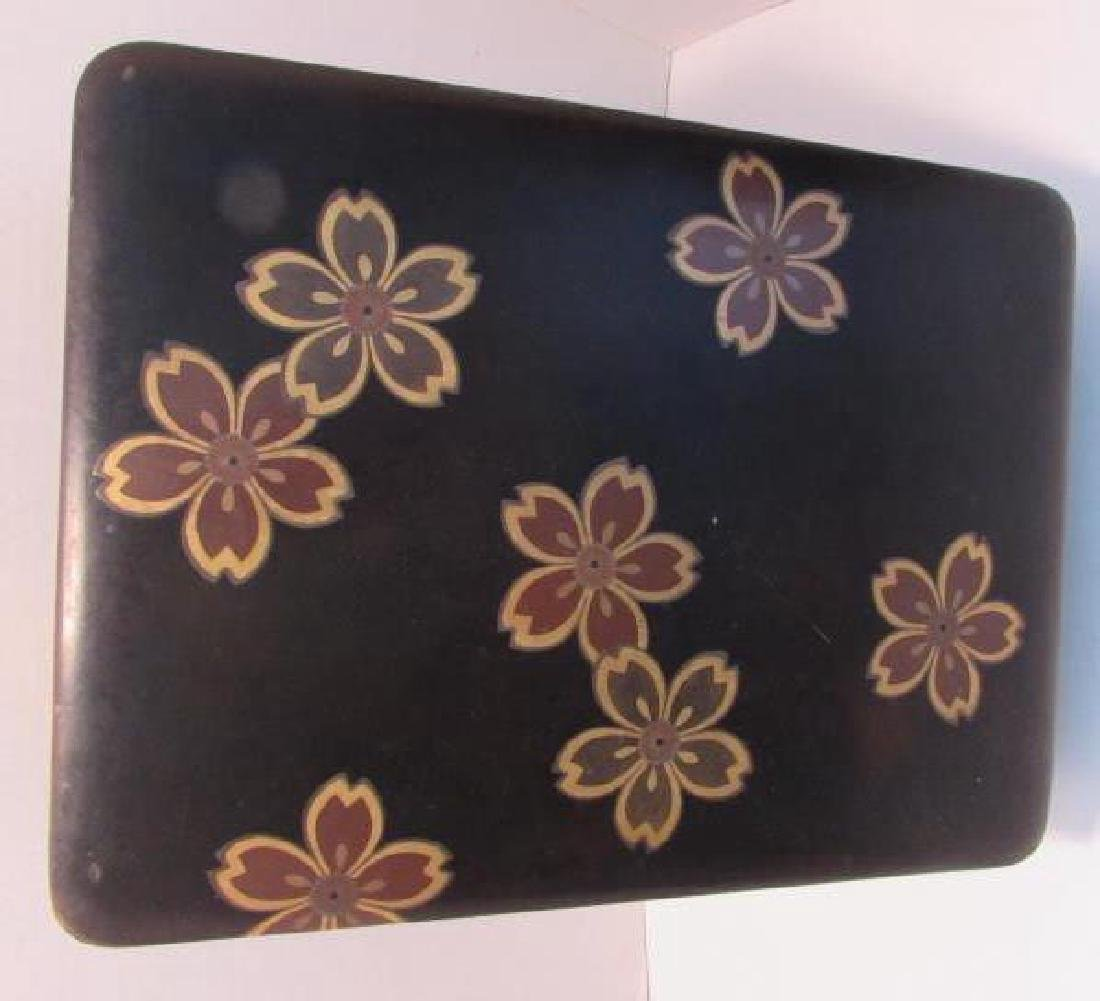 ANTIQUE JAPANESE LACQUER WOOD BOX GOLD INLAID