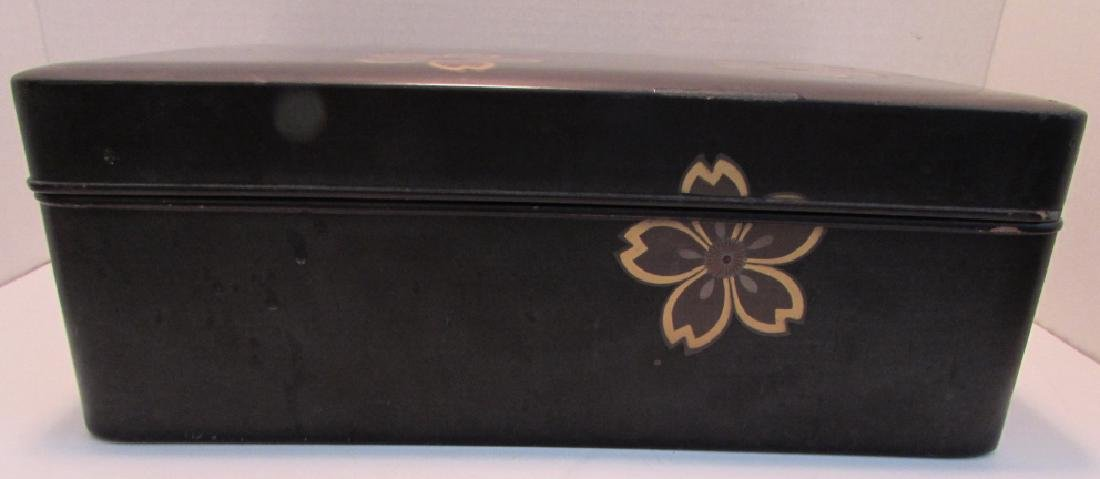 ANTIQUE JAPANESE LACQUER WOOD BOX GOLD INLAID - 3