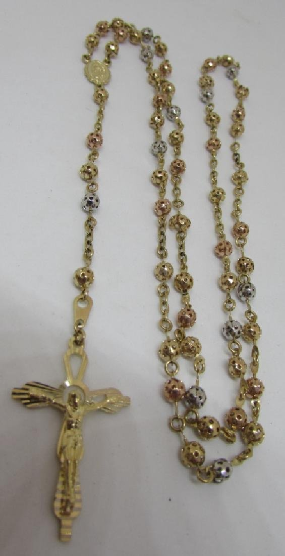 SOLID 10K GOLD ROSARY TRICOLOR FILIGREE 10.6 GRAMS