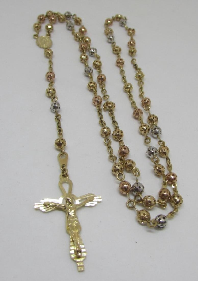 SOLID 10K GOLD ROSARY TRICOLOR FILIGREE 10.6 GRAMS - 2