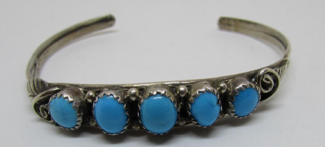 LIVINGSTON TURQUOISE STERLING SILVER BRACELET CUFF - 5