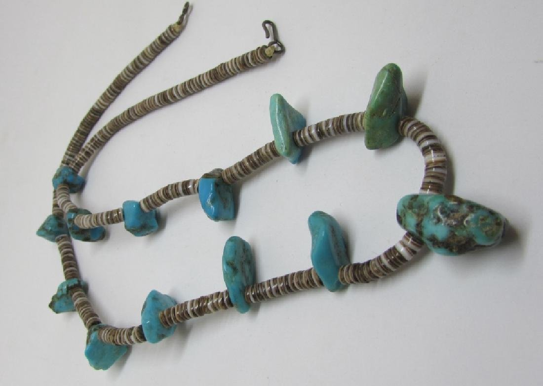 "20"" HEISHI TURQUOISE NECKLACE NATIVE AMERICAN - 2"