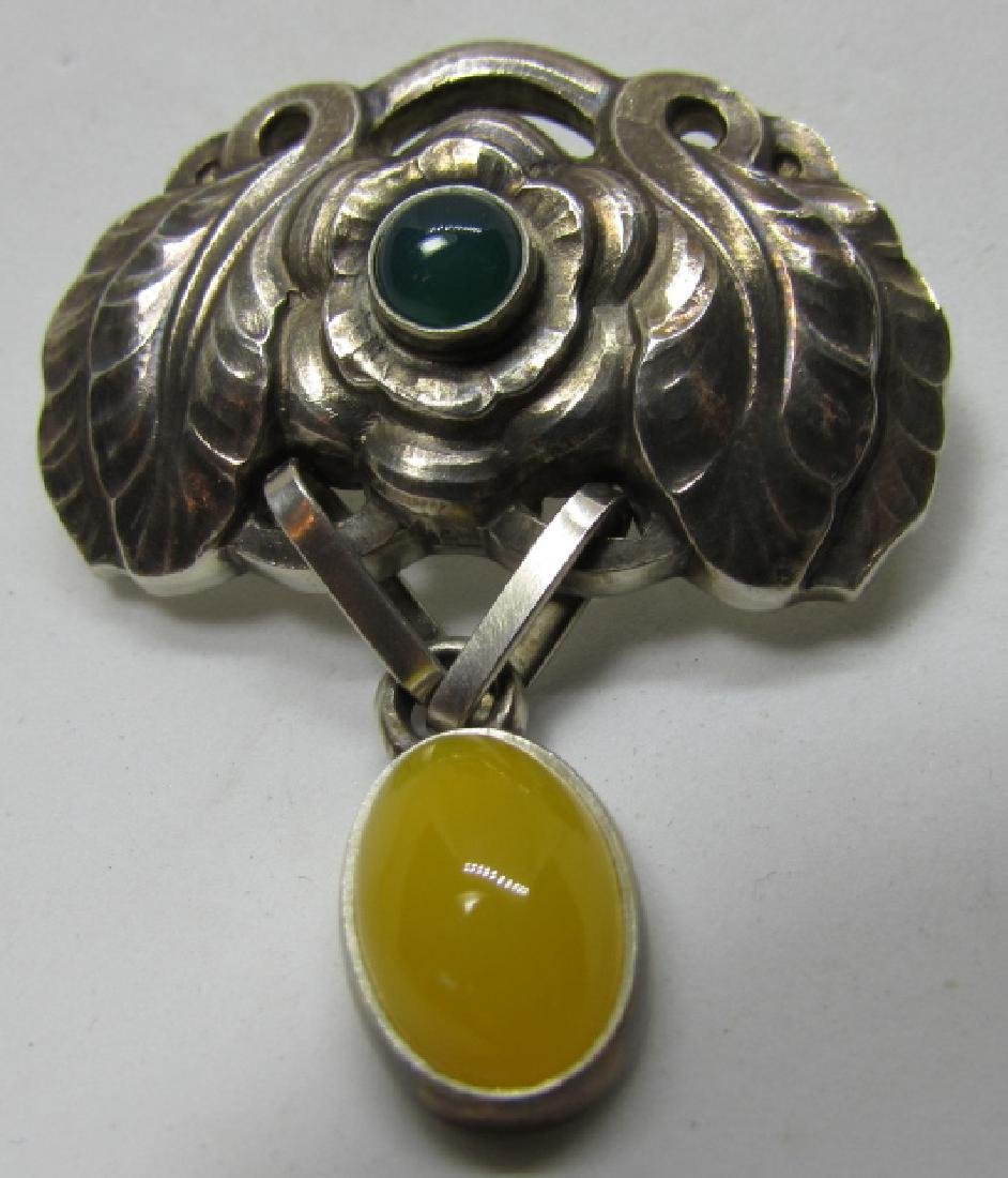 GEORG JENSEN AMBER PIN STERLING SILVER BROOCH