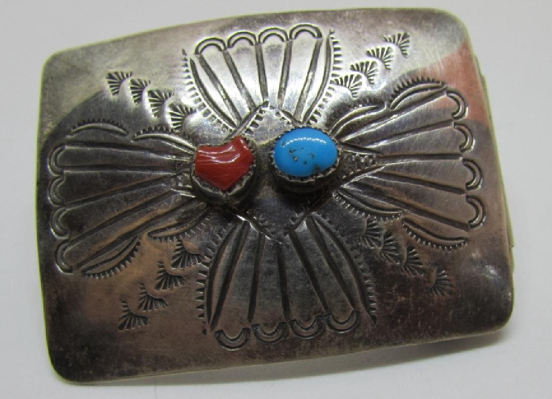 NAVAJO TURQUOISE BELT BUCKLE STERLING SILVER CORAL