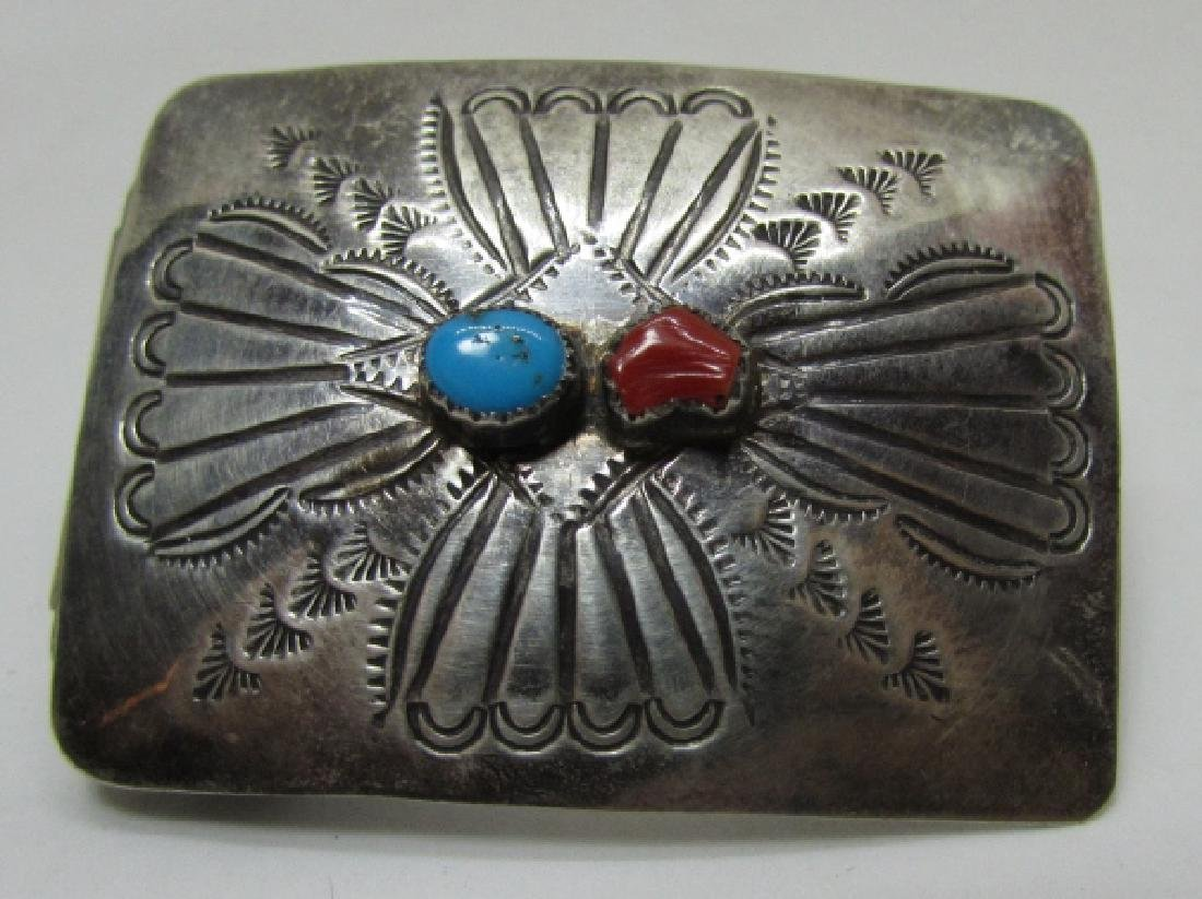 NAVAJO TURQUOISE BELT BUCKLE STERLING SILVER CORAL - 2