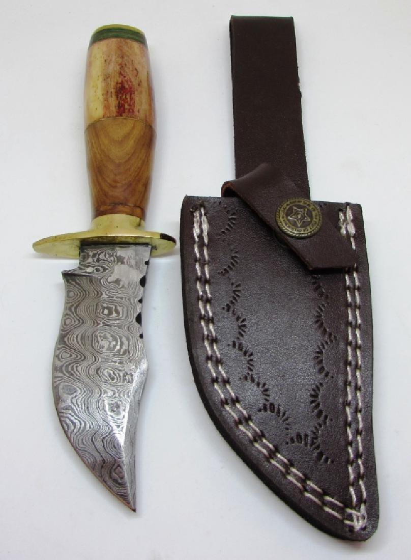 HANDMADE DAMASCUS KNIFE WOOD HANDLE LEATHER SHEATH