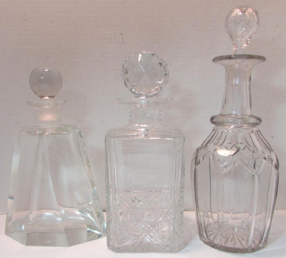 3 CUT CRYSTAL DECANTERS & STOPPERS EDINBURGH 180