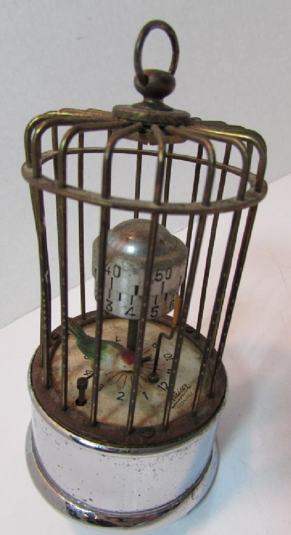 KAISER GERMANY BIRD CAGE ALARM CLOCK AUTOMATON