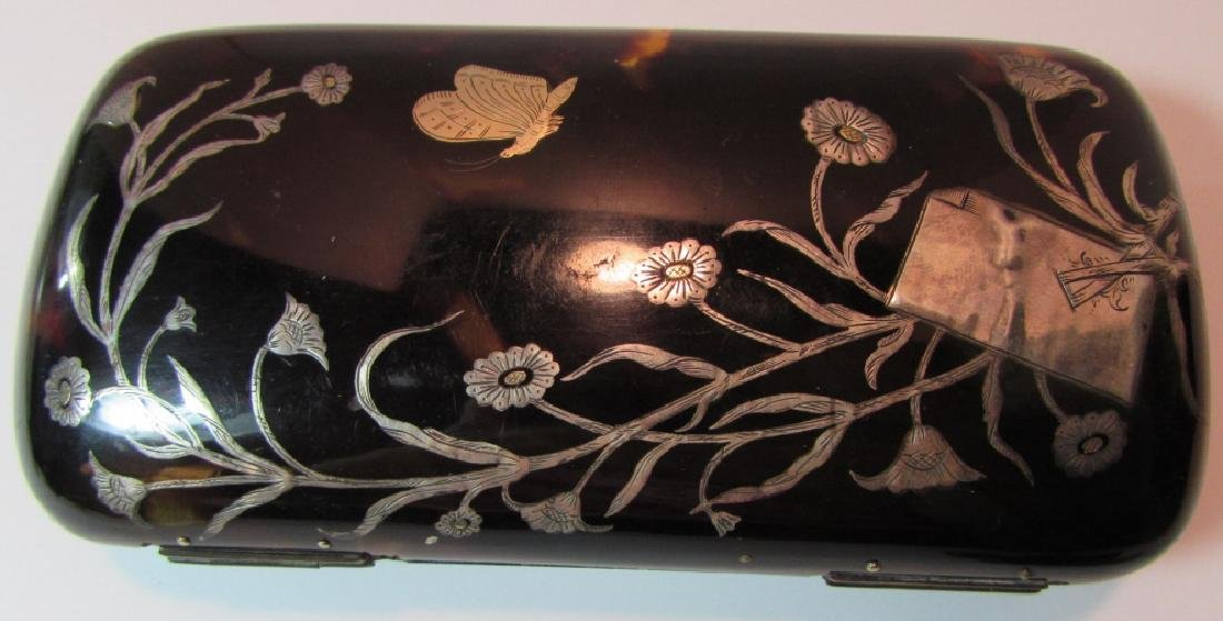TORTOISE SHELL PURSE GOLD SILVER INLAY CLUTCH CASE